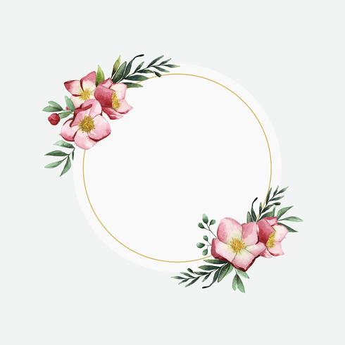 Hellebore flower frame painted by watercolor vector