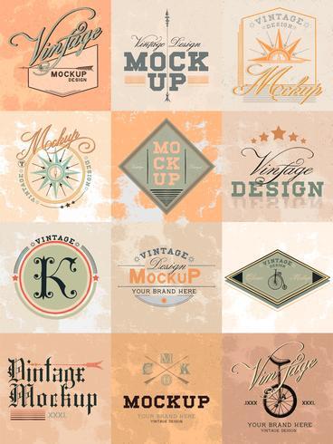 Ensemble de vecteur de conception de logo maquette vintage