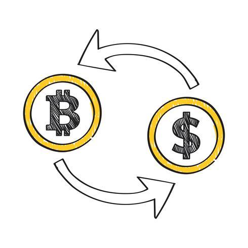 Ilustración de concepto de cambio de moneda Bitcoin