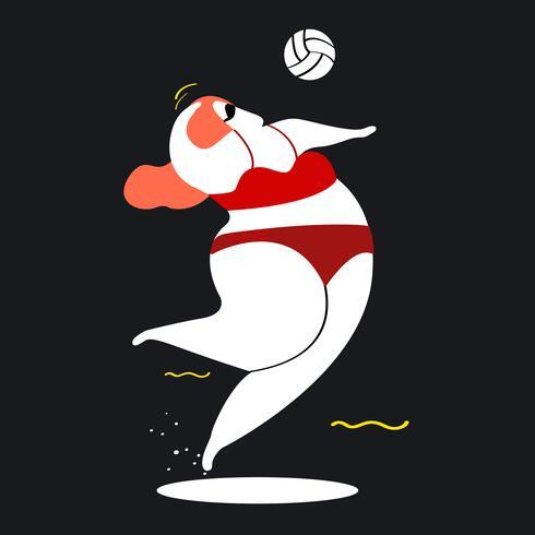Personagem, ilustração, de, um, mulher, tocando, voleibol praia