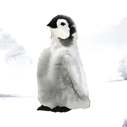 Jeune manchot empereur dans le vecteur aquarelle de neige