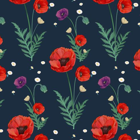 Poppy patterned wallpaper