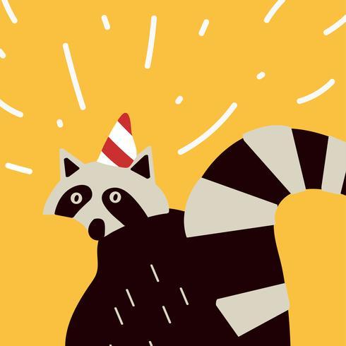 Smart tvättbjörn med en fest hatt vektorgrafik