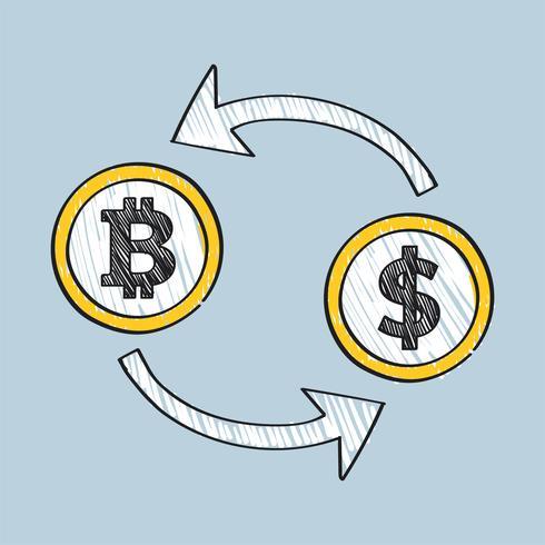 Bitcoin-Geldwechsel-Konzeptillustration