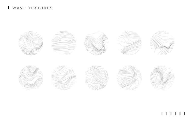 Ensemble de papier peint texturé vague définie vector