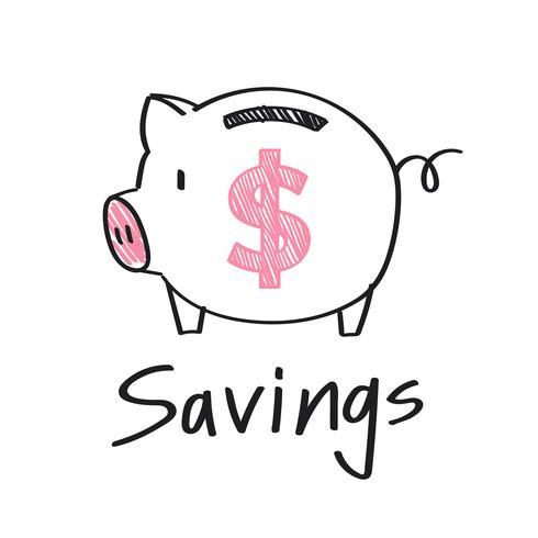 Spaarvarken met een illustratie van het dollarteken