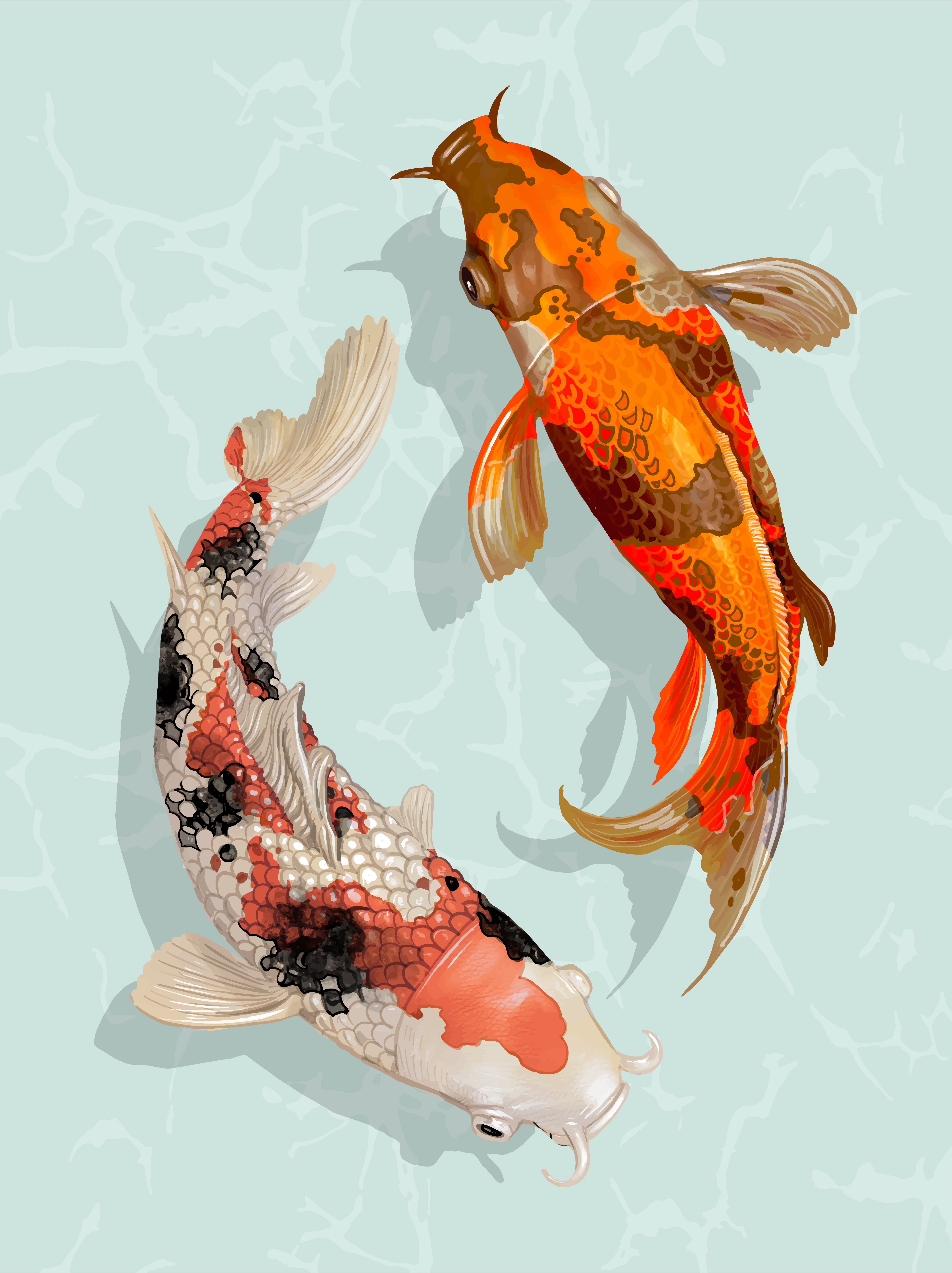 shawn morrissey - 24 x 36 Asian Japanese Koi F.. | Koi art ... |Japanese Koi Painting