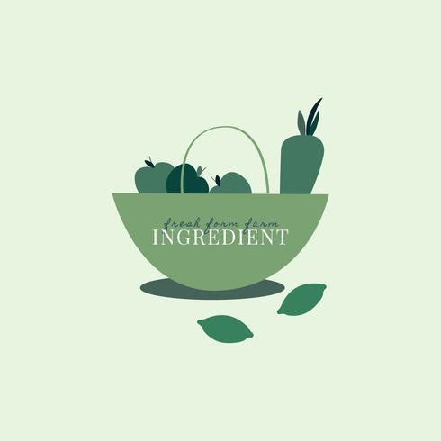 Logo de ingredientes orgánicos saludables.