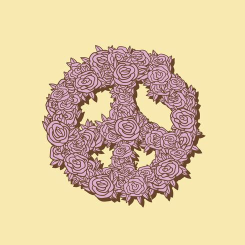 Handritad blom fred symbol illustration
