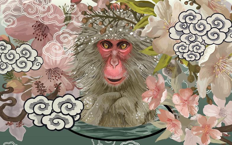 Macacos japoneses em um Onsen em meio a ilustração de flor de cerejeira