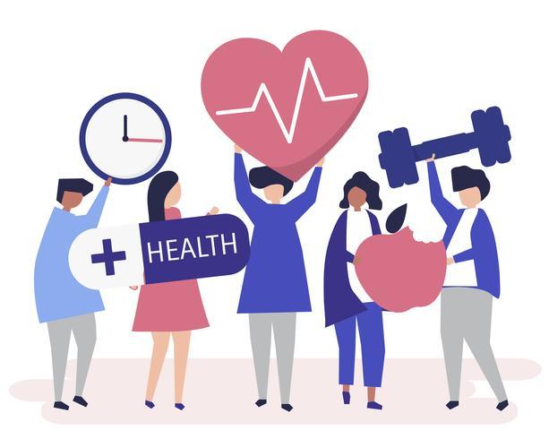 Le persone sane che trasportano icone diverse legate allo stile di vita sano
