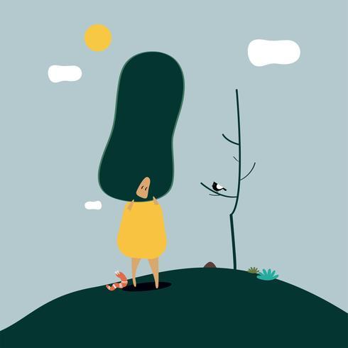 A ilustração engraçada de uma mulher que veste a árvore sae como o cabelo