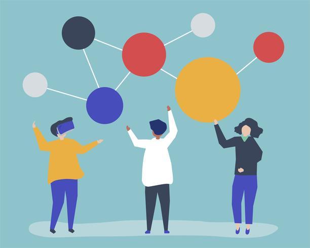 Ilustração de personagens de pessoas com o ícone de rede