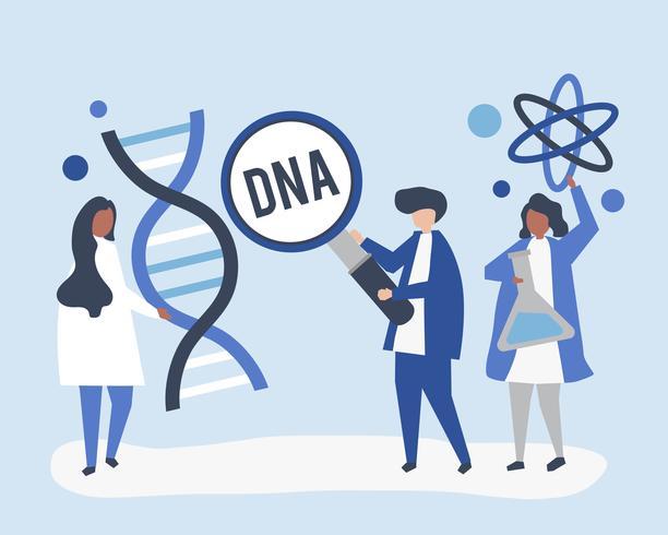 Scienziati genetici che conducono ricerche ed esperimenti