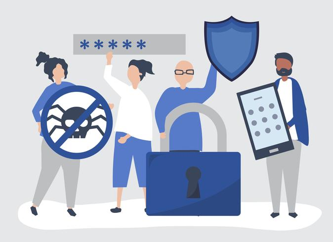 Illustration of people with privacy and security icons