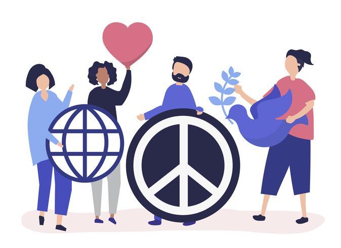 Caratteri della gente che tiene l'illustrazione dell'icona di pace