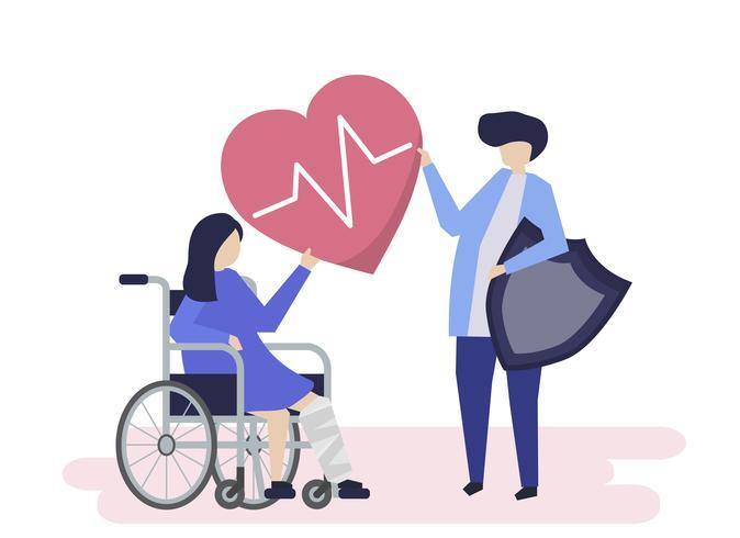 Ilustración de personaje de personas con iconos de seguro de salud