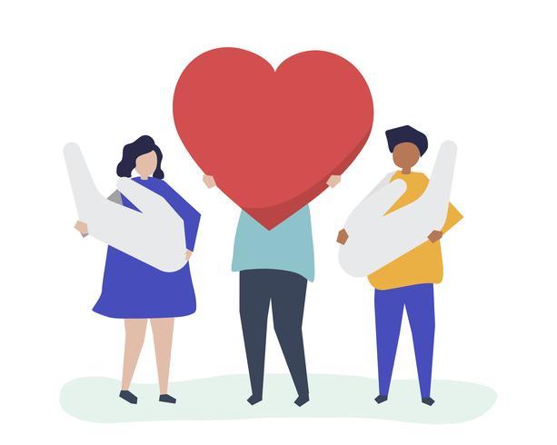 Personnes tenant des icônes coeur et main