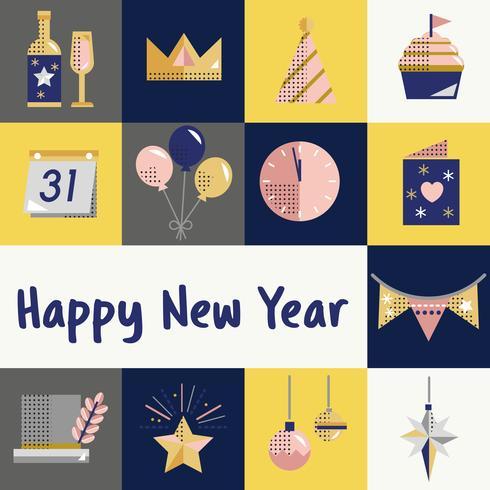 Ano novo, ícones, jogo, vetorial