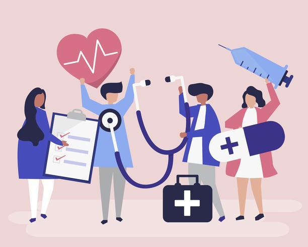 Grupp av medicinsk personal som bär hälsorelaterade ikoner