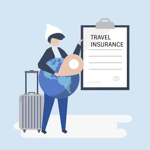 Un voyageur avec un document d'assurance voyage vecteur