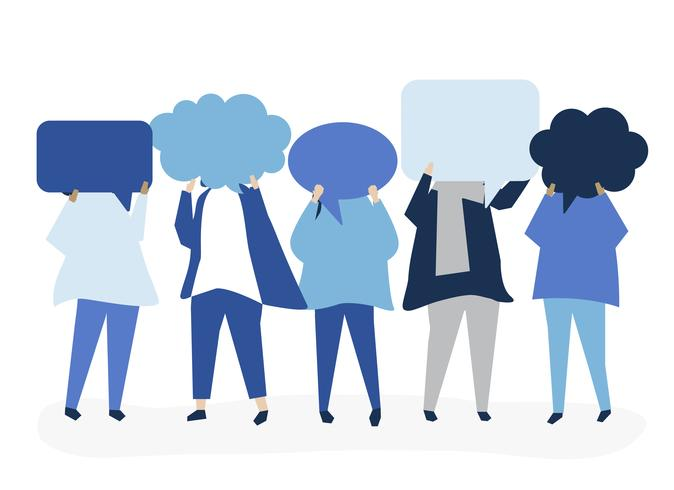 Personnes portant une illustration de bulle de dialogue