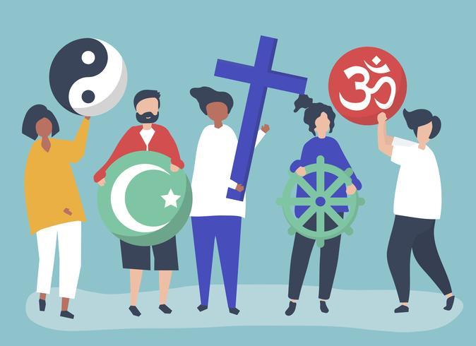 Personnes détenant diverses illustration de symboles religieux