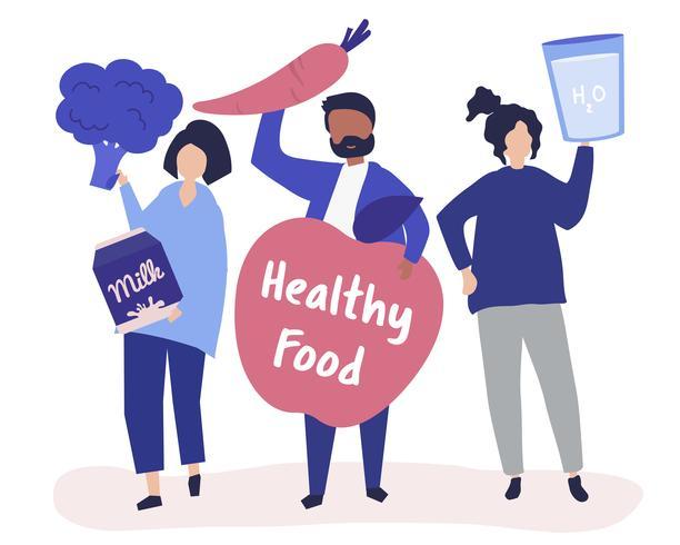 Persone in possesso di icone di cibo sano