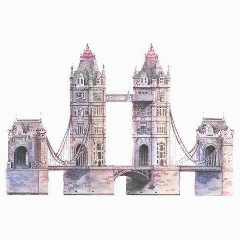 A, londres, ponte torre, pintado, por, aquarela