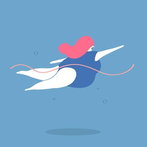 Illustrazione di carattere di un nuotatore femminile