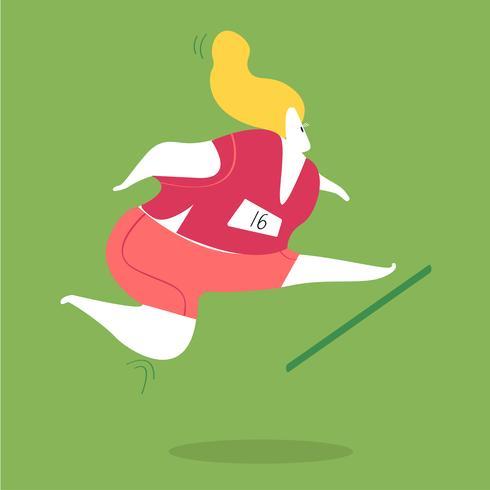 Vrouwelijke karakter rennen en springen hindernissen illustratie