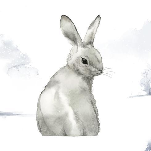 Vildgrå kanin i en vinterunderland målade av vattenfärgvektor