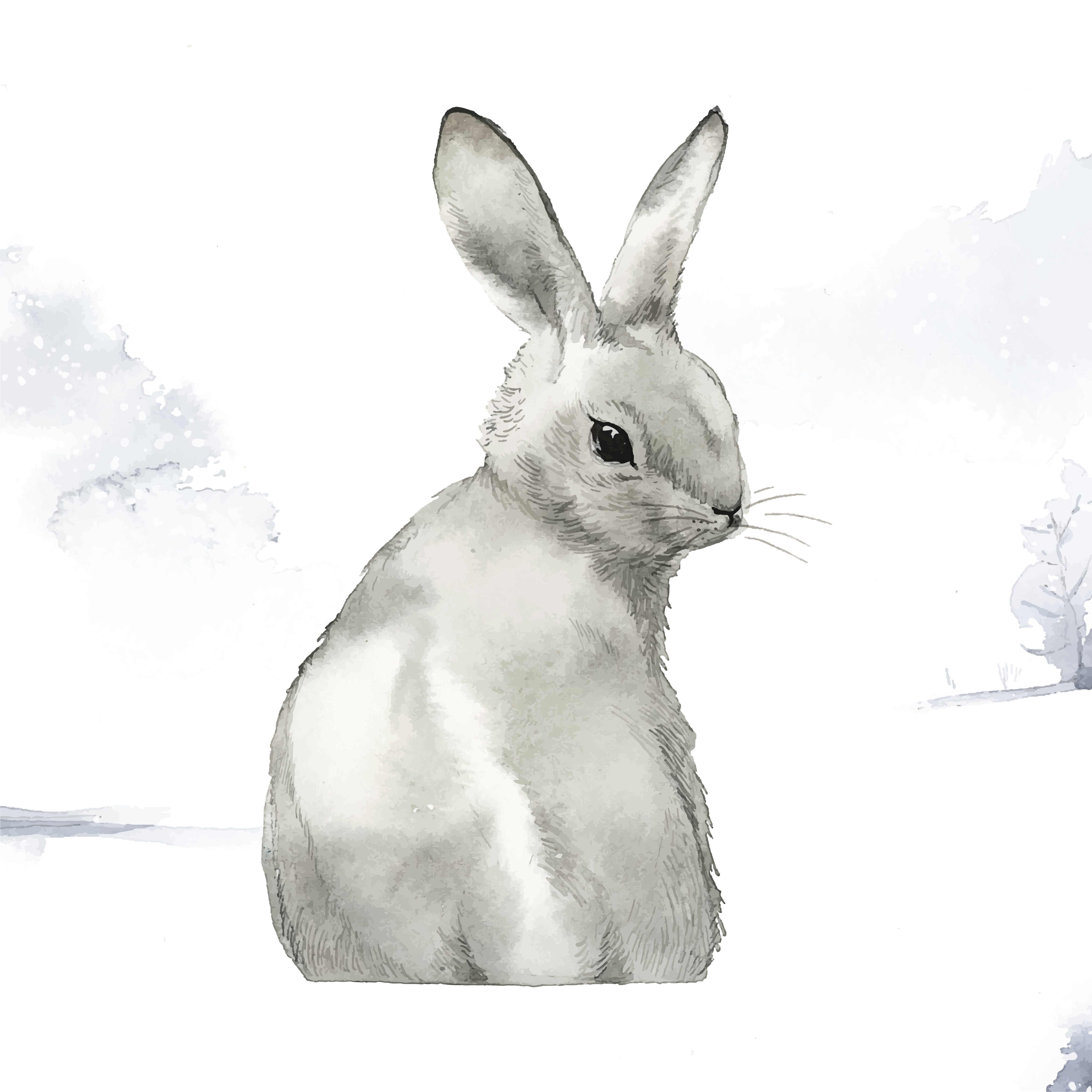 wild gray rabbit in a winter wonderland painted by. Black Bedroom Furniture Sets. Home Design Ideas