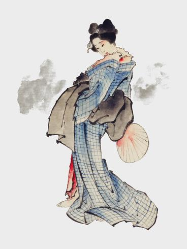 Traditional Japanese Ukyio-e style illustration of a Japanese woman in kimono by Katsushika Hokusai (1760-1849). Original from Library of Congress. Digitally enhanced by rawpixel.