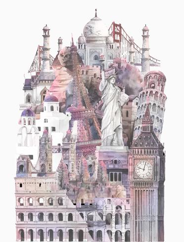 Collection de repères architecturaux peints à l'aquarelle