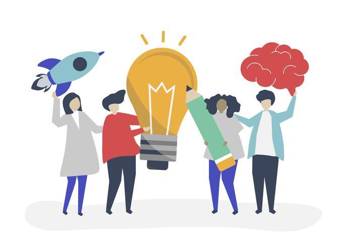 Ilustração do conceito de ideia de negócio criativo