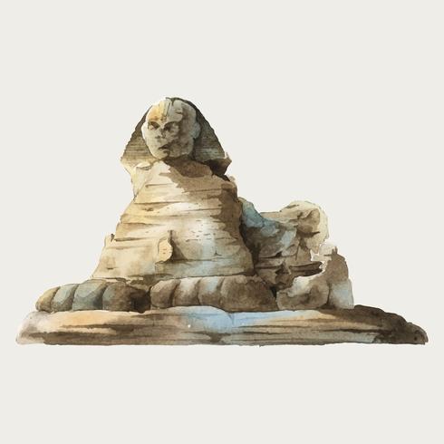 Esfinge egípcia em frente a pirâmide de Giza ilustração aquarela