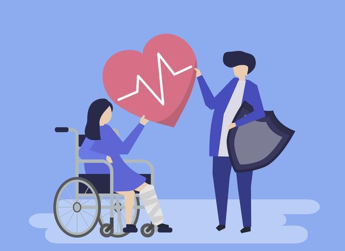 Illustrazione di carattere della gente che tiene le icone di assicurazione sanitaria