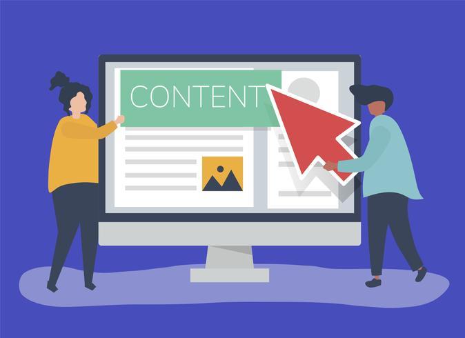 Pessoas com conceito de criação de conteúdo digital