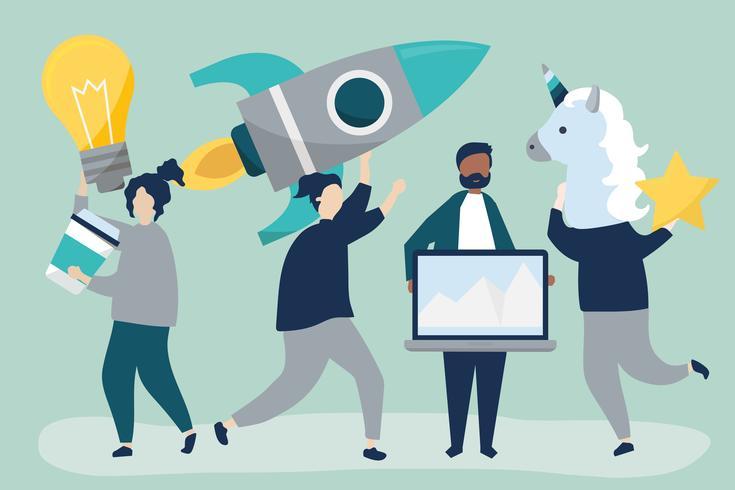 Mensenkarakters die creatieve bedrijfsconceptenpictogrammen houden