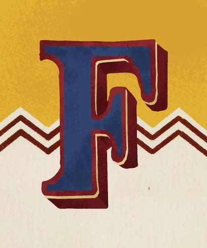 Vintage-Typografieart des Großbuchstaben F