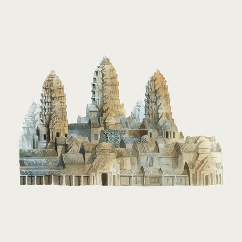Angkor Wat en pintura de acuarela Siem Reap