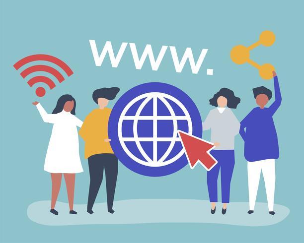 Ilustración de personaje de personas sosteniendo iconos de world wide web