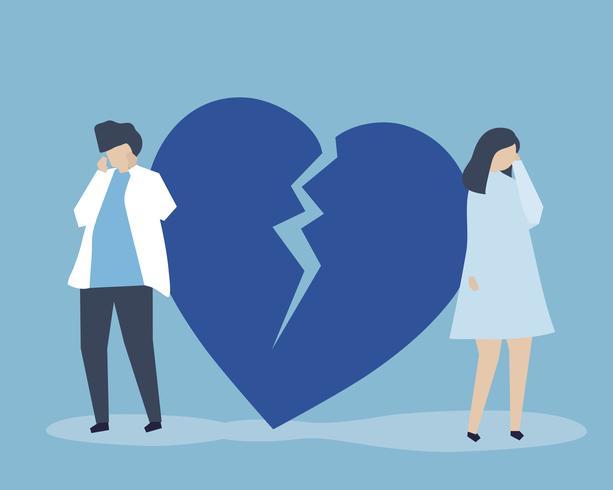 Illustration du personnage de couple avec une icône brisée