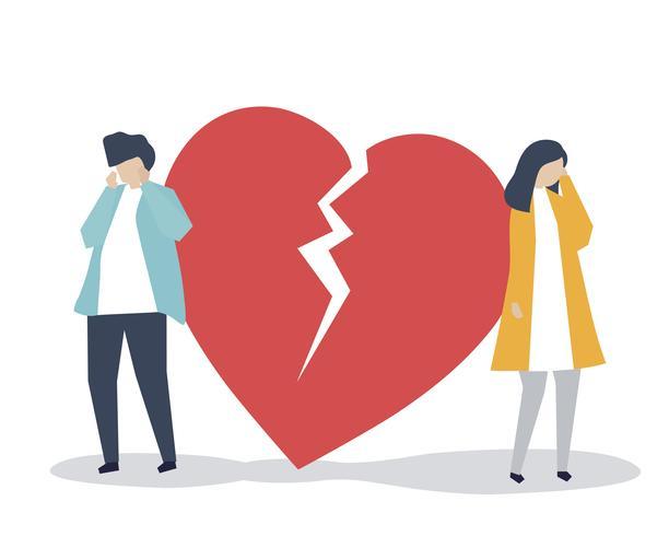 Ilustração de um casal com um ícone de quebra de coração