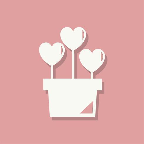 Flower pot Valentines day icon