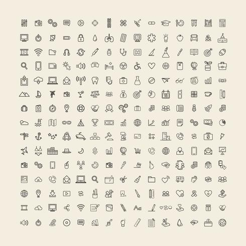 Illustration mixed icons set