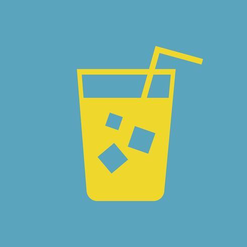 Refrescante bebida gelada com uma ilustração de palha