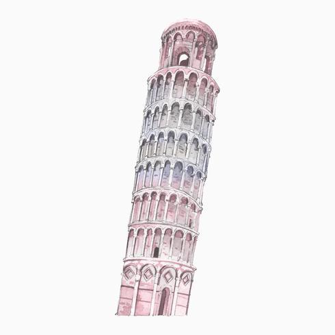 De scheve toren van Pisa geschilderd door aquarel