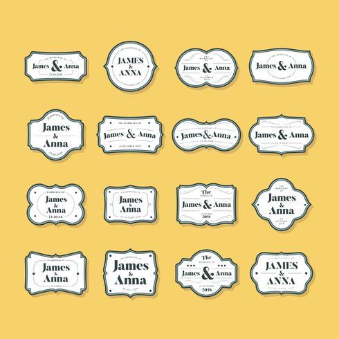 Conjunto de insignias de invitación de boda de estilo clásico